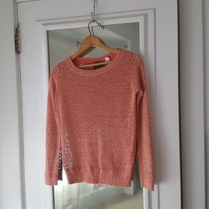 Guinevere Anthropologie Peach Netted Sweater